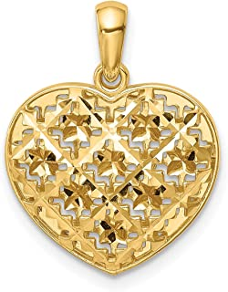 Lex & Lu 14k Yellow Gold Polished 3D Patterned Heart Pendant