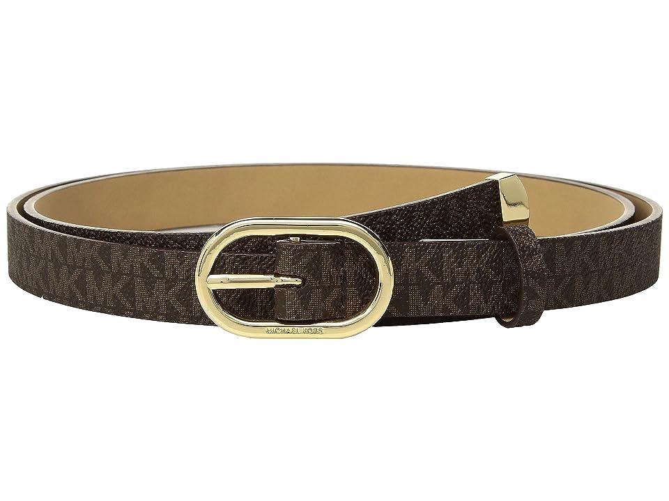 MICHAEL Michael Kors Logo PVC Belt (Chocolate) Women