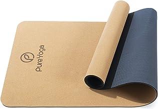Pure Yoga Yogamat van kurk – natuurkurk – antislip – extra breed – duurzaam – milieuvriendelijk – zeer licht – inclusief d...