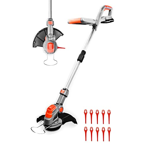 Cordless Strimmer 18V/20V-Max Lithium-Ion, Telescopic Lightweight Powerful Grass Trimmer, 25cm Cutting Diameter, Battery & Charger Included,Quick Change Spare Blades Included, Grass Edger Lawn Cutter