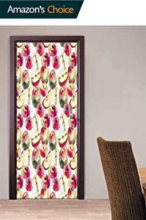 3D Door Decals Wall Mural Door Stickers, Colorful Saturn Peaches Door Stickers Decor Vinyl Wall Art Self Adhesive for Living Room Bedroom, 30.3W x 78.7H Inches