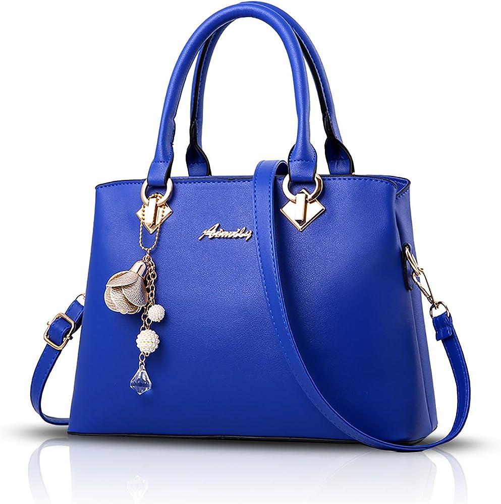 Sdinaz, borsa a mano/tracolla per donna, in pelle sintetica, blu SK-DE34302