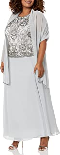 J Kara المرأة العتيقة طويلة الأكمام اللباس ث / وشاح مناسبات خاصة اللباس