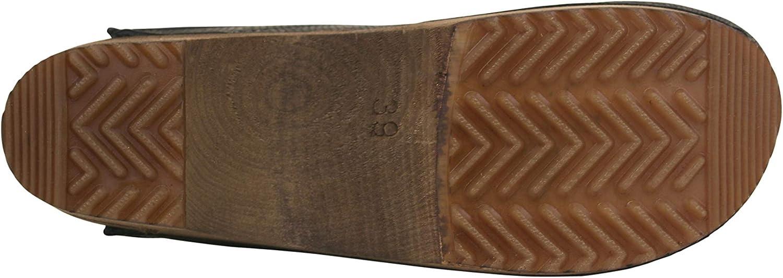 Zueco de piel flexible hecha a mano original para mujer Sanita plantilla anat/ómica con espuma suave
