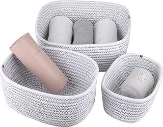 La Jolíe Muse Panier de rangement de 13,5 cm en coton tissé, ensemble de 3 paniers empilables à usages multiples, blanc av...