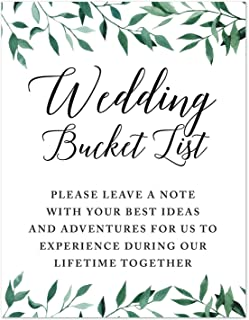 Andaz Press Wedding Party Signs, Natural Greenery Green Leaves, 8.5x11-inch, Wedding Bucket List, Please Leave a Note with Your Best Ideas and Adventures for Us to Experience of Lifetime, 1-Pack