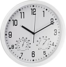 Alco 188-10 wandklok rond, 35 cm, wit, met thermometer en hygrometer