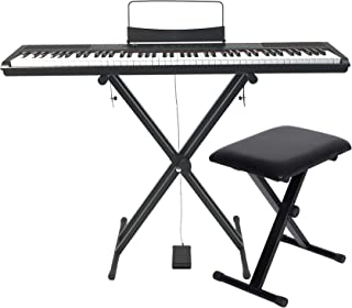 $269 » Artesia Performer Beginner Piano 88-Key Portable Digital Piano w/Full Size Semi Weighted Keys, Power Supply, Keyboard Stan...