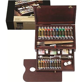 Rembrandt - Pintura al óleo - Caja de madera profesional - 24 tubos + accesorios: Amazon.es: Hogar