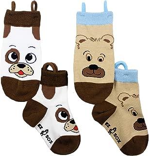 Ez Sox Kids Toddler Socks Seamless Toe No Slip Grips Pull Up Loops, 2 Pairs
