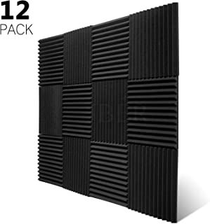 JBER 12 Pack Charcoal Acoustic Panels Studio Foam Wedges Fireproof Soundproof Padding Wall Panels 1