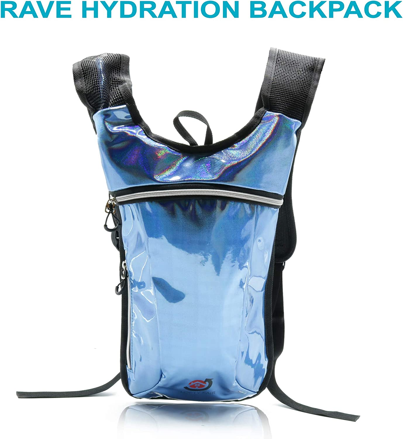 Lofty Fair Glitter bluee Rave Hydration Pack Backpack2L Water Bladder for Men & WomenIncluded for Festivals Raves Hiking Biking Climbing Running and More (Small)
