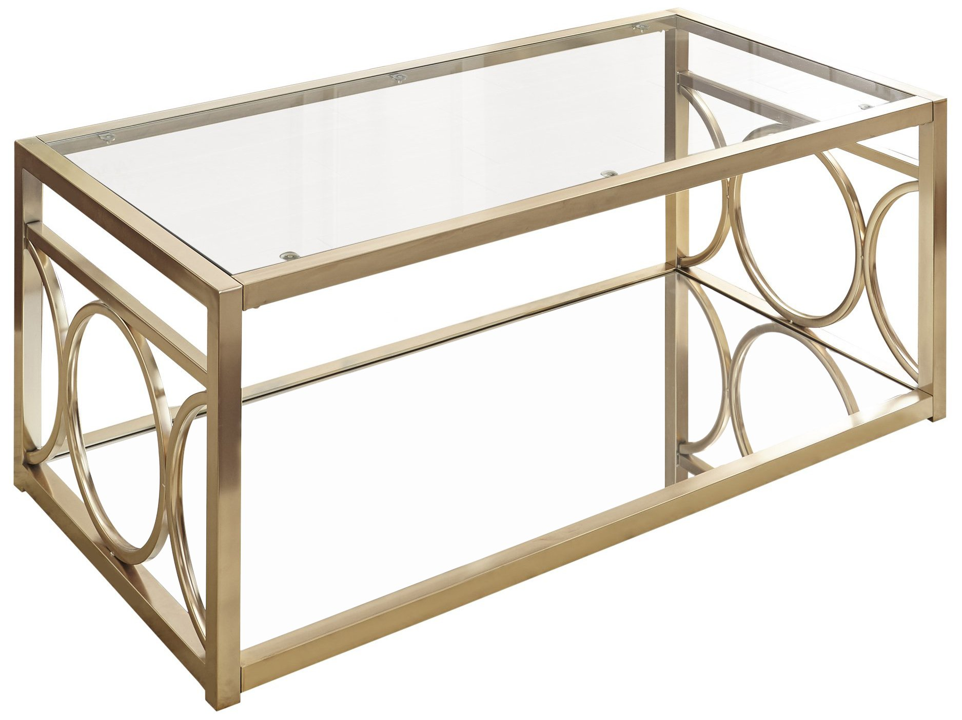 Steve Silver Olympia Glass Top Console Table in Gold Chrome