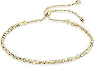 925 Sterling Silver Diamond-Cut Adjustable Bolo 2.5mm Bead Bracelet for Women, Handmade Italian Beaded Ball Chain Bracelet, Choice White, Yellow or Rose