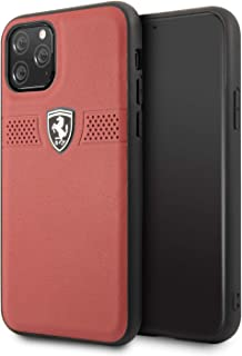 CG Mobile Ferrari Genuine Leather Hard Case for iPhone 11 Pro Cell Phone Cover Perforated Horizontal Stripe Design Drop Pr...