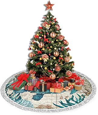 MSGUIDE 48 Inch Tassel Christmas Tree Skirt, Sea Turtle Ocean Animal Landscape Tree Skirts Mat for Christmas Holiday Party De