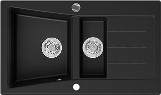 Granitspüle Schwarz 88 x 52 cm, Spülbecken  Siphon Automatisch, Küchenspüle ab 60er Unterschrank in 5 Farben mit Siphon und Antibakterielle Varianten, Einbauspüle von Primagran