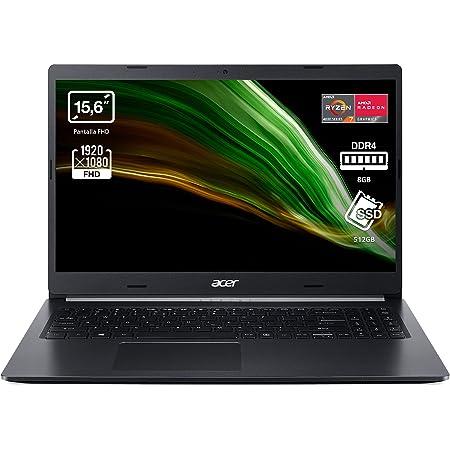 """Acer Aspire 5 A515-44 - Ordenador Portátil 15.6"""" Full HD, Laptop (AMD Ryzen 7 4700U, 8 GB RAM, 512 GB SSD, UMA Graphics, ComfyView, Endless OS), PC Portátil Color Negro - Teclado QWERTY Español"""