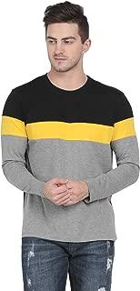 Pinaken Men's Full Sleeve Round Neck Cotton T-Shirt (Black and Mustard Yellow)