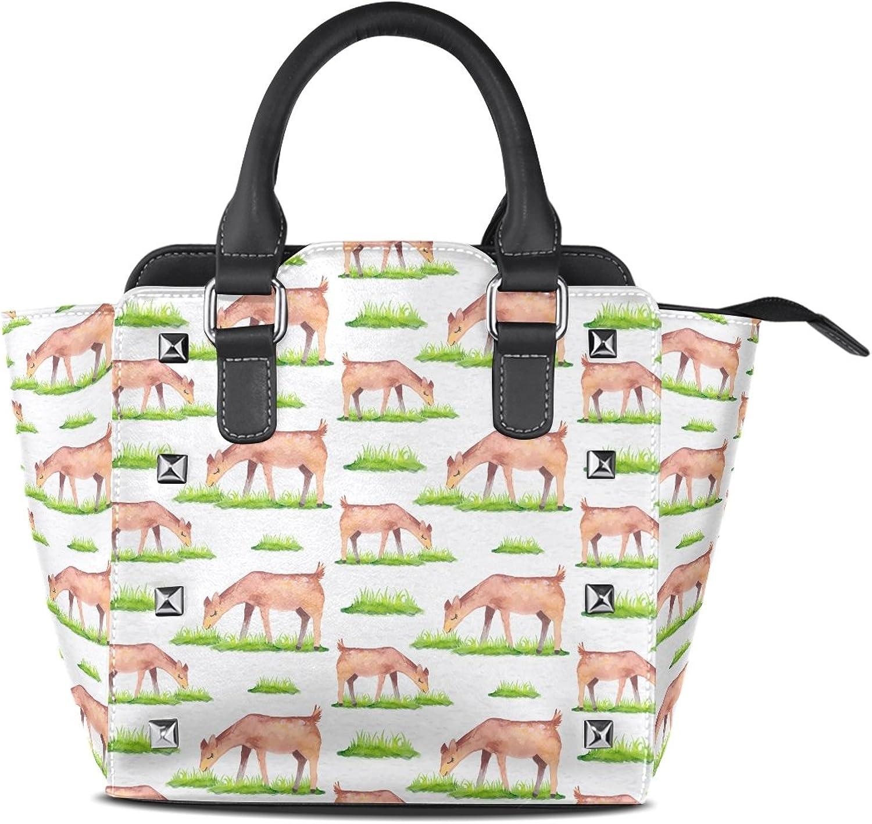 My Little Nest Women's Top Handle Satchel Handbag Cute Deer Ladies PU Leather Shoulder Bag Crossbody Bag