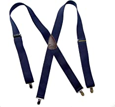 product image for HoldUp Brand Classic Dark Navy Blue XL Suspenders with Brown Leather X-back crosspatch and Silver tone no-slip clips