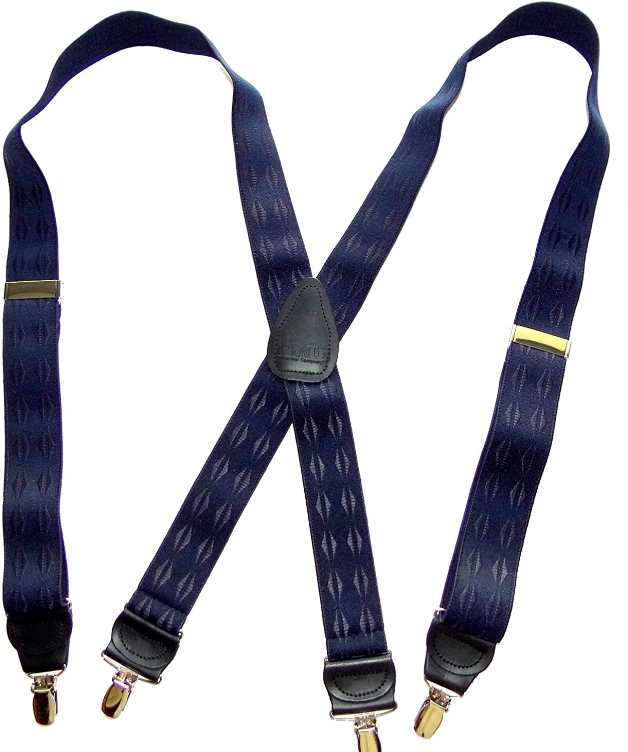 Hold-Ups Blue Pattern Jacquard Suspenders X-back and Gold No-slip Clips