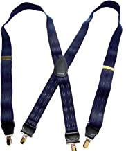 product image for Hold-Ups Blue Pattern Jacquard Suspenders X-back and Gold No-slip Clips