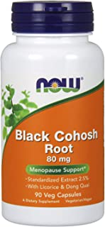 NOW Supplements, Black Cohosh Root 80 mg with Licorice and Dong Quai, 90 Veg Capsules