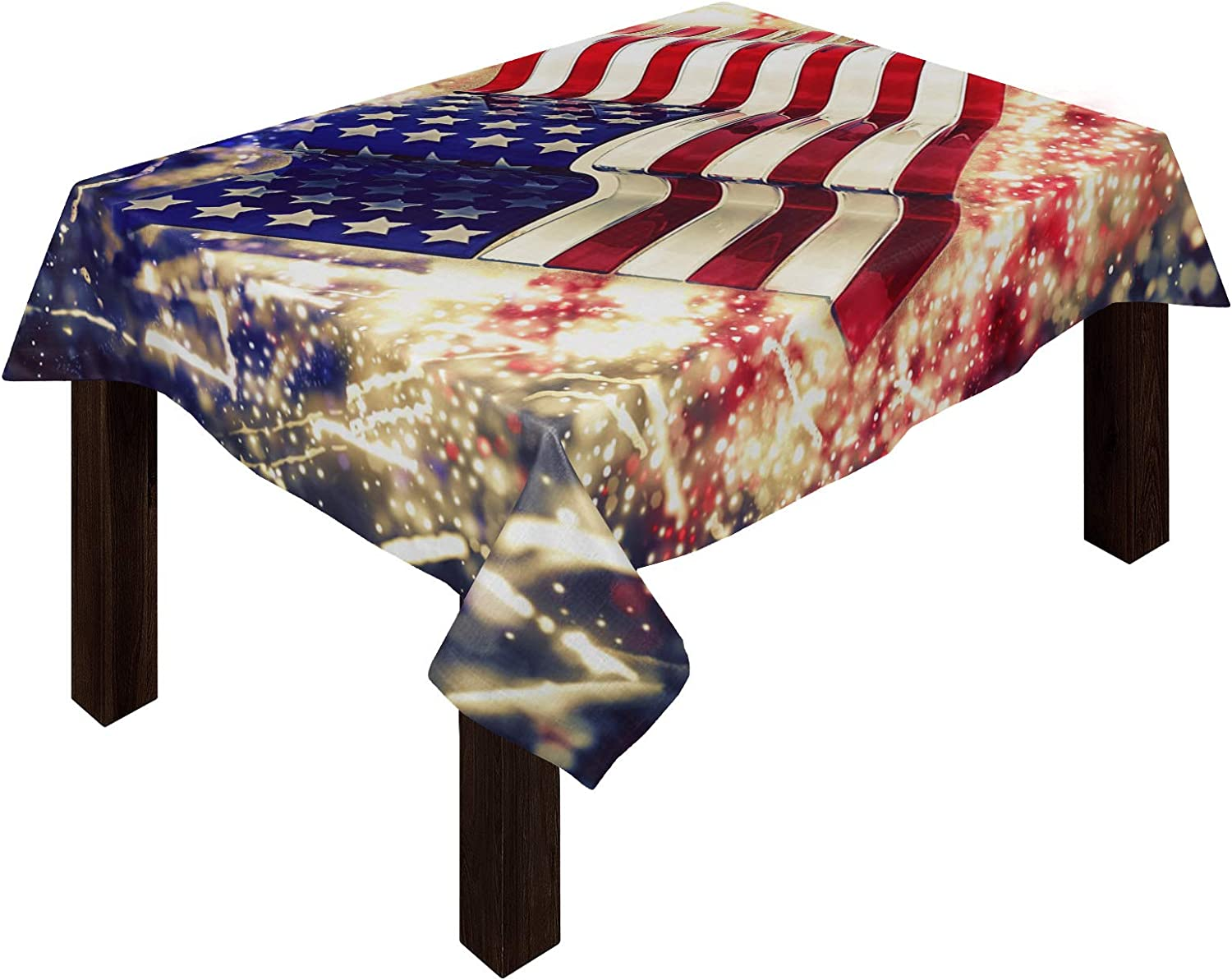 Independence Day Cotton Linen プレゼント Tablecloth Flag セール特別価格 Firework American