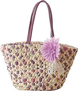 Women Straw Tote, JOSEKO Summer Beach Bag with Inner Pocket Flower Bag Shoulder Bag for Ladies