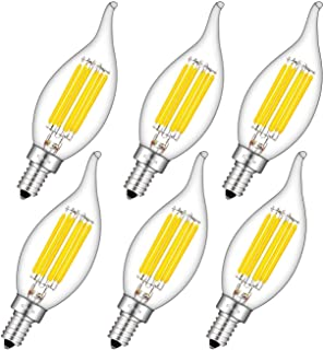 CRLight 6W LED Candelabra Bulb 4000K Daylight White, 70W Equivalent 700LM, E12 Base Dimmable LED Chandelier Light Bulbs, Antique Edison Clear Glass CA11 Candle Flame Shape Bent Tip, Pack of 6