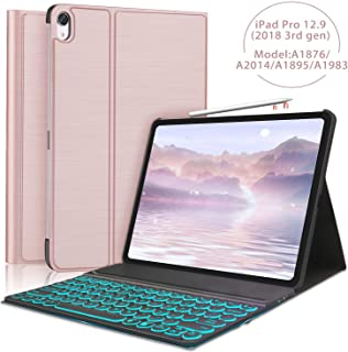 """iPad 12.9"""" Keyboard case for iPad Pro 12.9(3rd Gen) 2018 [Support Pencil Charging] 7 Color Backlit Bluetooth Keyboard-Ultra Slim Folio Protective Stand Cover-Auto Sleep/Wake-Rose Gold"""
