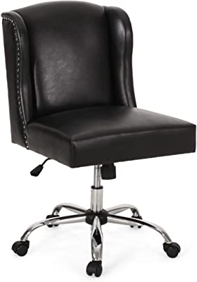 Christopher Knight Home Teresa Contemporary Wingback Swivel Office Chair, Midnight Black