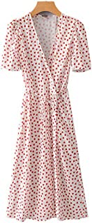 Women Cross V Neck Heart Pattern wrap Dress Sweet Bow tie Short Sleeve Casual midi Dresses Vestidos