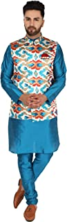 SKAVIJ Men's Silk Blend Kurta Pajama and Jacket (Waistcoat) Set
