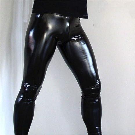 Herren Wetlook Faux Leder Hosen PU Hose Zipper PVC Bühne Clubwear Hosen S-2XL