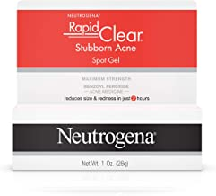 Neutrogena Rapid Clear Stubborn Acne Spot Treatment Gel with Maximum Strength Benzoyl Peroxide Acne Treatment Medicine, Pimple  Cream for Acne Prone Skin with 10% Benzoyl Peroxide, 1 oz
