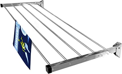 Homwell Cloth Drying Stand for Balcony   Cloth Stand Hanger   Cloth Drying Stand - Stainless Steel Heavy Duty 5 Pipe X 2 Feet Wall Mounted