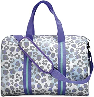 """iscream 'Snow Leopard' Faux Pebbled Leather 17"""" x 11"""" x 11"""" Duffle Bag for Sport and Travel with Adjustable Strap"""