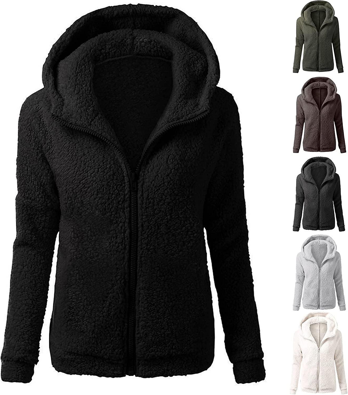 Women's Tops Autumn And Winter Ladies Fashion Solid Color Casual Wool Zipper Cardigan Jacket Warm Long Sleeve Hoodie