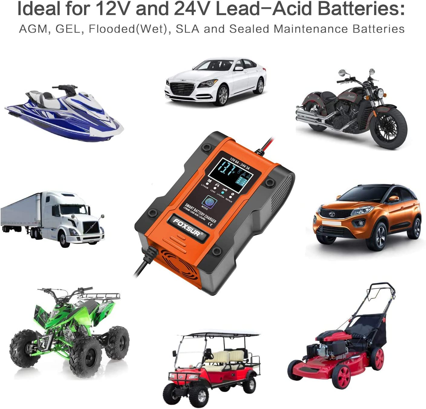 Automotive Battery Charger and Maintainer 12V 6A // 24V 3A Smart Battery Charger for Car Lead-Acid LiFePO4 Battery Automatic Trickle Charger for Lithium Motorcycle Truck Lawn Mower