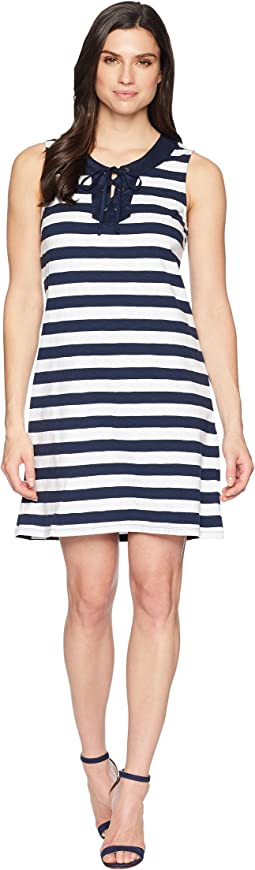 Tommy Bahama Stripe Right Sleeveless Tie Front Dress