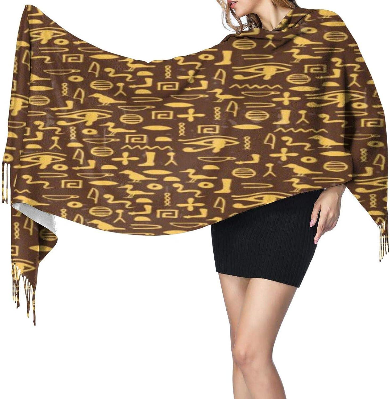 Cashmere fringed scarf Egyptian Hieroglyphics winter extra large scarf