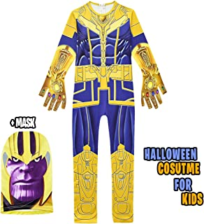 NastyLoot - Thanos Halloween Costume for Kids - Kids Costume Jumpsuit with Mask - Great for Boys Cosplay Party Dress Up