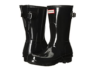 Hunter Original Back Adjustable Short Gloss Rain Boots (Black) Women