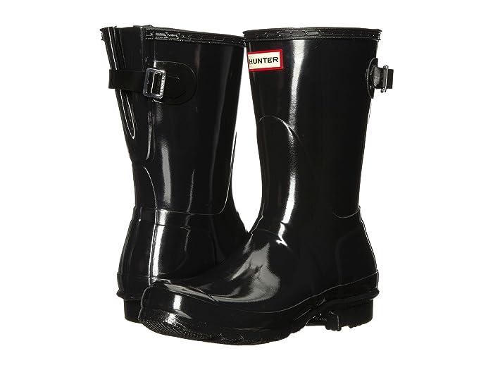 Hunter  Original Back Adjustable Short Gloss Rain Boots (Black) Womens Rain Boots