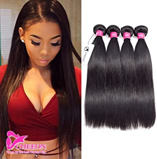 8A Malaysian Virgin Hair Straight 4 Bundles Deals 20 22 24 26 Inches 100% Unprocessed Human Hair Bundles Weave 400g Natural Black Can be Dyed CHEEON