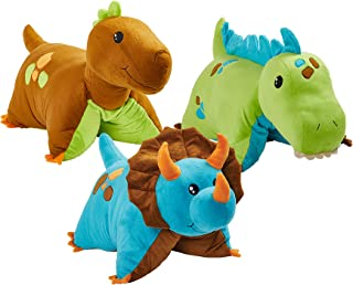 Pillow Pets 3 Dinosaur Combo Pack - Blue, Green & Brown Dinosaurs, Multicolor