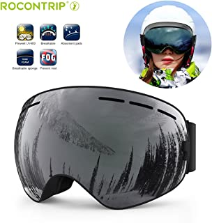 Ski Goggles, UKON Snowboard Goggles Double Lens Anti-Slip Strap Anti-Fog UV Protection Skating Goggles with Detachable Lens & Strap for Women Men Kids