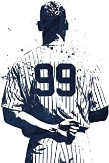 Artcgc Aaron Judge New York Yankees,Artwork Wall Art Home Wall Decorations for Bedroom Living Room Oil Paintings Canvas Prints-696 (Framed,12x18inch)